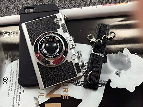 Coque iPhone 6 Plus/6s Plus , iNenk® Manchon Protection explosion modèles souples Silicone créatrice coréenne dur PC Couverture de téléphone Mode Retor Camera Case-rouge Noir