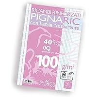 Pigna 02222370Q, Ricambio con Banda Rinforzata, Rigatura 0Q, quadretti 5 mm con margine per 2° e 3° elementare, Carta…