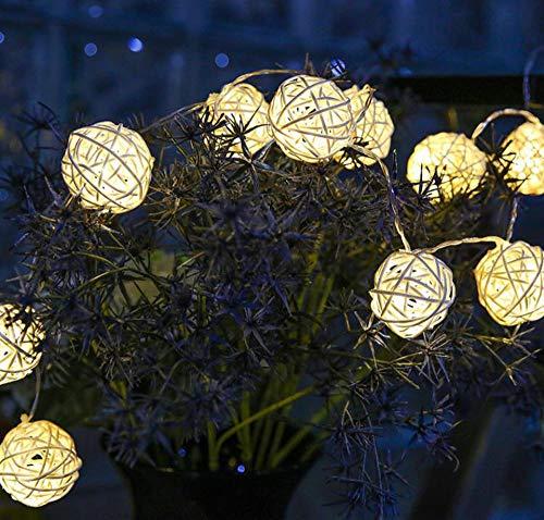 Sodhue Lichterkette Warm Led Cotton Ball String Light Wattebausch leuchtet mit 20 Lampions Wattebausch Lichterketten 3.5Meter Ball Lights für die Dekoration (Die Dekoration Mit Lampions)