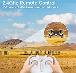 YMXLJJ Remote Control FPV Drone With High-Definition Camera 2.4Ghz 4 Channel With 6-Axis Gyroscope Quadcopter Child Adult Beginner Headless Mode, 3D Flip, One-Button Return Black