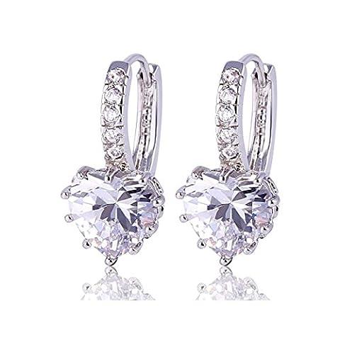 GULICX Valentine Gift 925 Sterling Silver Huggie Hoop Earrings White Love Heart Stone Clear Zircon