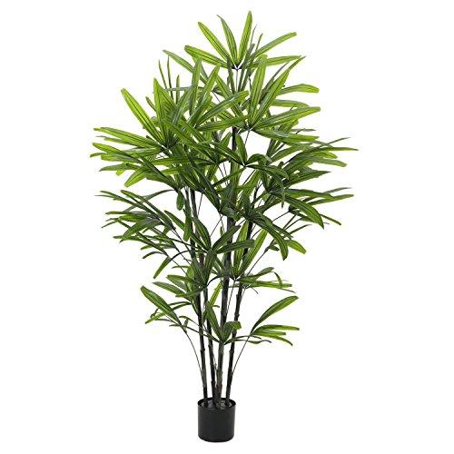 artplants Set 'Kunstpflanze Steckenpalme + Gratis UV Schutz Spray' - Künstliche Bambuspalme DONA, uv-sicher, grün, 175 cm