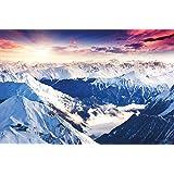 Papel pintado fotográfico que muestra las montañas de los Alpes – imagen mural de un fantástico paisaje de un atardecer de invierno – decoración mural con un bello paisaje de montaña by Great Art