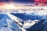 Papel pintado fotográfico que muestra las montañas de los Alpes - imagen mural de un fantá stico paisaje de un atardecer de invierno - decoración mura