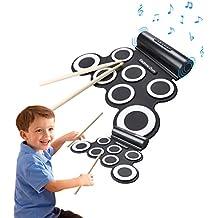 Roll Up Drum CoastaCloud Electrónica del Balanceo Portátil hasta Tambor de Pastillas Silicona Rodillo Batería / USB Accionado, con Metrónomo y Altavoz Incorporado, Acompañamiento de la Práctica