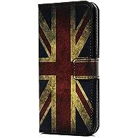 Huawei P Smart Case Wallet, Funda de Piel sintética con Soporte para Tarjeta y Ranura para identificación, Funda Protectora de TPU para Huawei P Smart/Enjoy 7S, The Union Flag