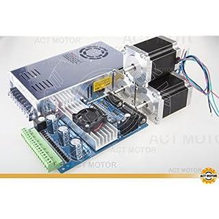 ACT Motor GmbH Nema23 3Axis Driver Board Kit 23HS8430 1.9Nm 76mm 3A 270oz+3Axis Driver Board TB6560 + 350w 24V Power Supply CNC Automation Mill Cut