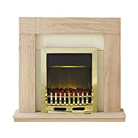 Adam Malmo Electric Fireplace Suite with LED Blenheim Brass, 2000 Watt, Oak