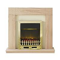 Adam Malmo Electric Fireplace Suite with LED Blenheim Brass, 2000 Watt, Oak