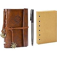 Diario de Viaje, Coofit Bloc de Notas Cuaderno de Cuero Retro Anclaje Libreta con 1 Bolígrafo y 1 Hojas de Recambio (Café)