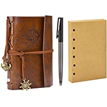 Diario de Viaje, Coxeer Bloc de Notas Cuaderno de Cuero Retro Anclaje Libreta con 1 Bolígrafo y 1 Hojas de Recambio (Café)