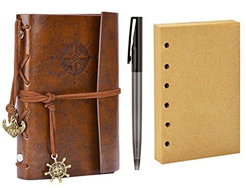 Foto de Diario de Viaje, Coofit Bloc de Notas Cuaderno de Cuero Retro Anclaje Libreta con 1 Bolígrafo y 1 Hojas de Recambio (Café)