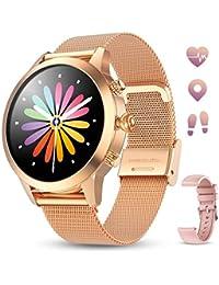 GOKOO Smartwatch Mujer Pulsera de Actividad IP68 Impermeable Pulsómetros Elegante Reloj Inteligente Reloj Metal Monitoreo del Sueño Notificación Compatible con Android iOS