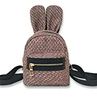 ALWYHH Satchel Girl Woven School Bag Generous Linen Pure Color Zipper Backpack Satchel Women Trave Shoulder Bag Feminina