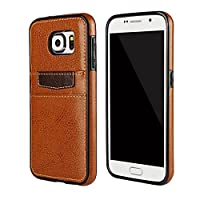 Ducomi® Xcover S7 - Case for Samsung Galaxy S7 Edge in Leather with Credit Card Pocket - Shock Resistant, Soft Silicone Embossed - Contains up to 2 Credit Cards in the Back Pocket brown