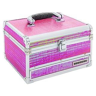 anndora® Schmuckkoffer Kosmetikkoffer 3 Frontfächer Spiegel Rot Pink schimmernd