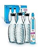 Soda Stream Reservepack Promopack Zylinder mit Glaskaraffen (1 x CO2-Zylinder für 60L und 3 x 0,6L Glaskaraffe, für Crystal und Penguin Wassersprudler, spülmaschinenfest)