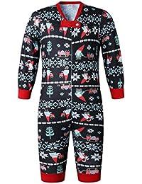 ECOWISH Weihnachten Schlafanzug Familien Outfit Mutter Vater Kind Baby Pajama Langarm Nachtwäsche Print Sleepwear Top Hose Set