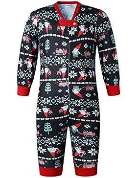 ECOWISH Weihnachten Schlafanzug Familien Outfit Mutter Vater Kind Baby Pajama Langarm Nachtwäsche Print Sleepwear...