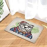 hdrjdrt 1 Grigio Bianco Simpatico Orso Polare Che Indossa Occhi e Blusa Blu su Sfondo Grigio Super Assorbente Resistente allo Sporco Resistente all'Usura Senza Sostanze chimiche