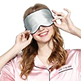 Yiiquan Unisex Schlafmaske Augenmaske zum Schlafen konturierte Form Leichte Schlafbrille Silber Einheitsgröße