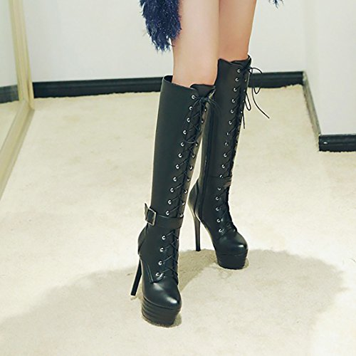 UH Femmes Bottines Chaussures Sexy à Talons Aiguilles Bout Pointu avec Lacet et Fermeture Eclair Chaud pour Lhiver Noir