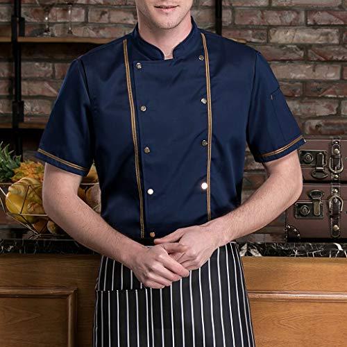 F Fityle Kurzarm Kochjacke Bäckerjacke Chef Jacke Restaurant Koch Arbeitskleidung Gastro Kochbekleidung für Männer Frauen - Schwarz, L - 6