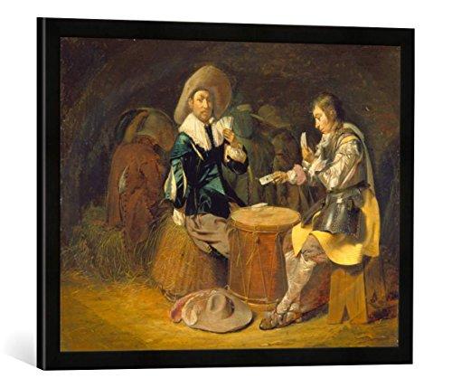 """Gerahmtes Bild von Wilhelm Cornelisz Duyster """"Kartenspielende Offiziere"""", Kunstdruck im hochwertigen handgefertigten Bilder-Rahmen, 70x50 cm, Schwarz matt"""