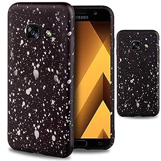 Moozy Handyhülle für Samsung A5 2017, Silikon Hülle Schwarz mit Tinte Farbe Spritzen 3D Muster - Silber