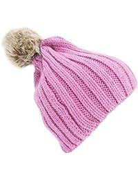 Bonnet tricoté à pompon - Fille
