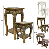 Opiumtisch Nachttisch Hocker Beistelltisch Ablage Akazien Massiv Holz Spiegelsteine Quadratisch Gold Antik - 51 cm hoch