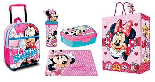 Set regalo zainetto zaino trolley minnie mouse set merenda portapranzo scuola asilo bambini