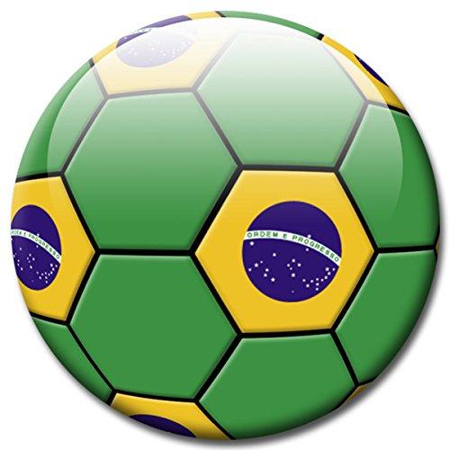 GUMA Magneticum Fußball Fan Magnet Länderflagge Brasilien Ø 5 cm Kühlschrankmagnet mit innovativem Motiv für Magnettafel Pinnwand Magnetpinnwand Memoboard Whiteboard - Original Magnete -