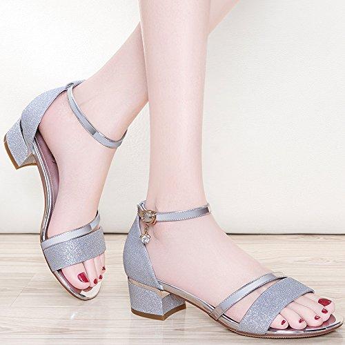 XY&GKIm Sommer mit groben Damen Sommer Sandalen mit Mode Frauen Sandalen mit einem Sommer All-Match Frau, komfortabel und schön 36 Silver