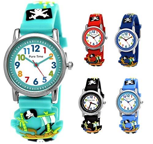 Pure Time® Kinder-Uhr Mädchen-Uhr für Kinder Jungen-Uhr Silikon-Kautschuk Armband-Uhr Uhr mit 3D Piraten Motiv Lern-Uhr Schul-Uhr Sport-Uhr Türkis Hellblau Blau