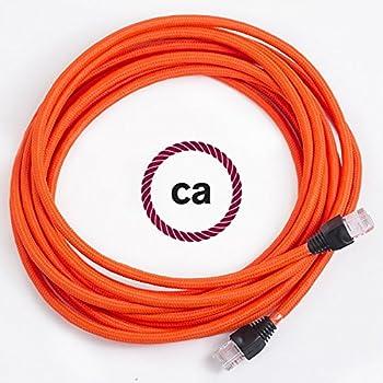 Cavo Lan Ethernet Cat 5e con connettori RJ45 - RF15 Effetto Seta Arancione  Fluo - 2 Metri 6fe942b564bf