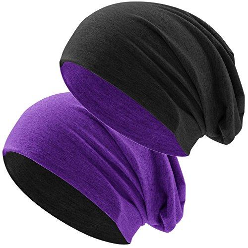 Hatstar Bicolor Jersey Slouch Long Beanie Mütze, leicht und weich, Reversible Beanie für Damen und Herren (Zwei-farbig   Bicolor lila-schwarz) (Lila Beanie Long)