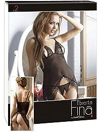 Abierta Fina Kleid Einblicke XL - erotisches Dessous-Minikleid für Frauen, Kleid mit freien Cups und String mit offenem Schritt, Verführung des Partners, Blumenspitzen-Details, schwarz