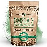 Omega 3 Fischöl Kapseln - 400 Kapseln Hochdosiert In Besonderer Qualität - 1000mg Omega3 Fettsäuren Pro Kapsel - Qualität Der Fischölkapseln In Deutschland Geprüft