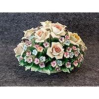 Cestino ovale con rose e fiori prato in porcellana Capodimonte Visconti 2aa7f2c3bd32