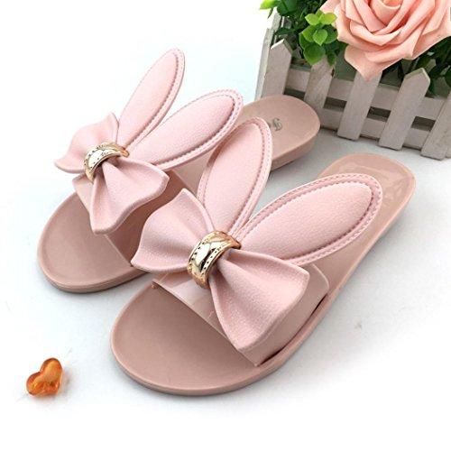 Vovotrade Femmes Plates Sandales de Flocons Sandales Chaussures de Plage Pantoufles été Design Oreilles de Lapins 3D Rose