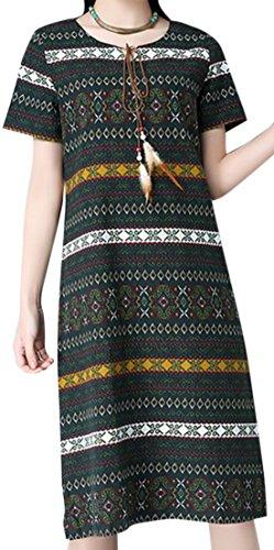 erdbeerloft - Damen Knielanges Kleid im Azteken Design, S-2XL, Viele Farben Dunkelgrün