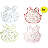 Baby Bucket Premium Bib Easily Clean Comfortable Soft Baby Bibs Keep Stains Off After Meals For Babies Or Toddlers 0-12 Months (Set Of 4)
