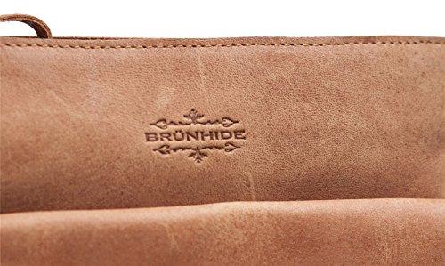 Brunhide # 152-300 - Borsa satchel con tracolla donna - vera pelle di bufalo cerata Tan