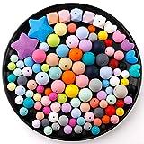 baby tete Baby Beißring DIY Perlen Set Handgemachte Handwerk Halskette Armband Mischfarbe 167pcs Pflegezubehör für Säuglinge BPA Frei Umweltfreundlich 3 Größe von (12mm 15mm 20mm)