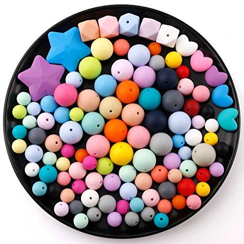 baby tete Jouet de Dentition Ensemble de Perles Bricolage Artisanat Fait à la Main Bracelet Mix Couleur 167pcs Accessoires de Soins Infirmiers pour Bébés Sans BPA 3 Taille de (12mm 15mm 20mm)