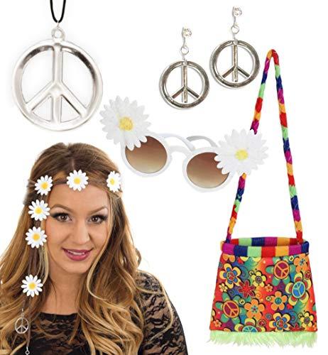 Hippie Peace Zeichen Ohrringe - KarnevalsTeufel Zubehör-Set Hippie 5-teilig Haarband mit