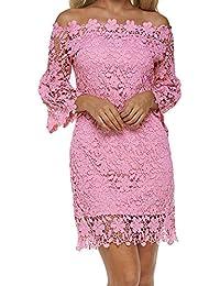 Auxo Women Off Shoulder Pencil Dress Vintage Floral Lace Long Sleeve Mini Dress Cocktail Party Swing Dress