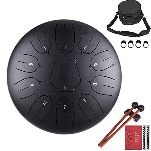 Finelyty 10 Zoll Steel Tongue Drum Percussion Instrument Lotus Hand Pan Drum mit Tasche 11 Noten
