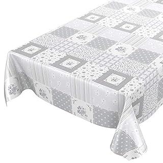 ANRO Wachstuchtischdecke Wachstuch Wachstischdecke Tischdecke abwaschbar Grau Patchwork Karo 220 x 140cm